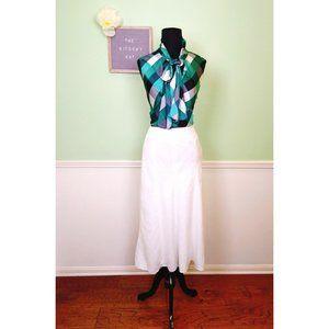 Talbots Petite Irish White Linen A-Line Maxi Skirt